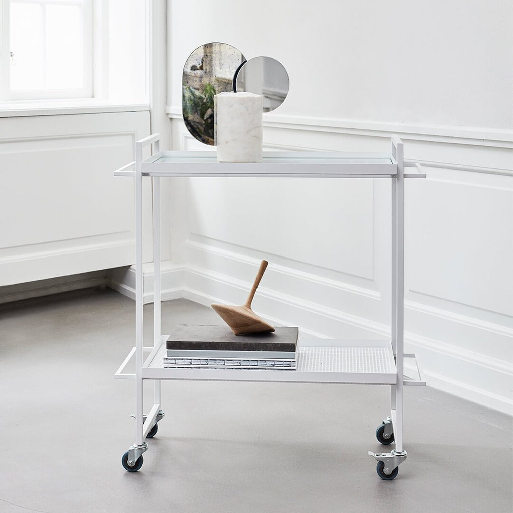 decorative plant cart trolley white steel kristina dam studio