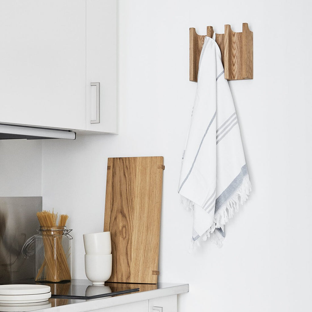 kitchen hook rack for tea towels small oak