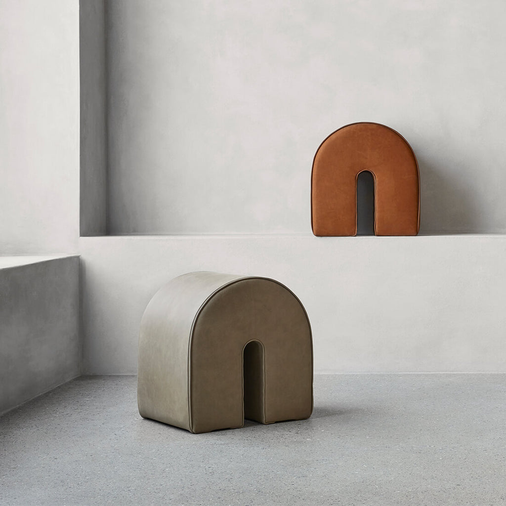 kristina dam studio leather pouf collection
