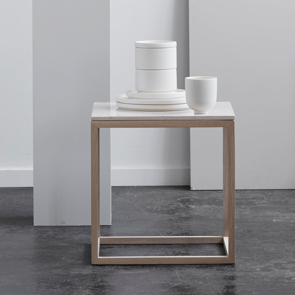 Cube Table | Oak Frame | White Marble