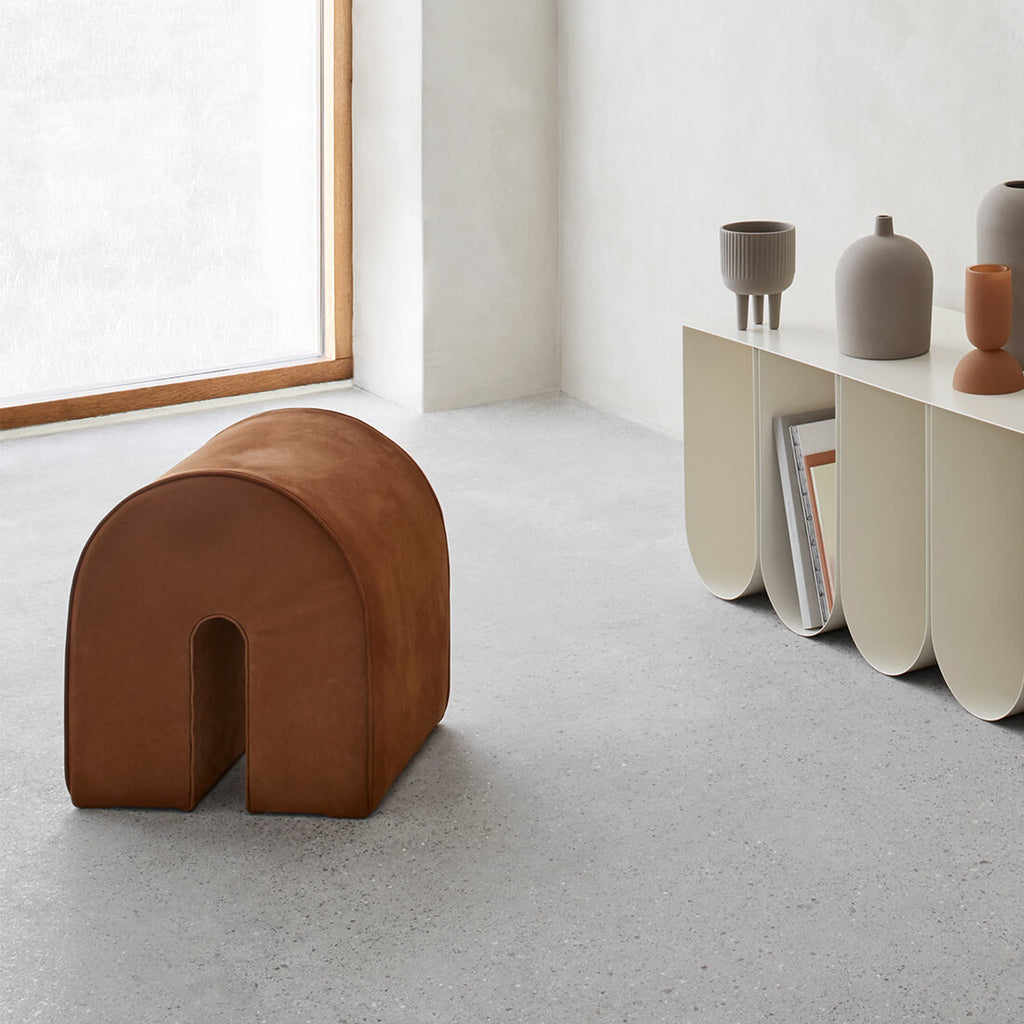 Sustainable and durable pouf in high quality leather from kristina dam studio