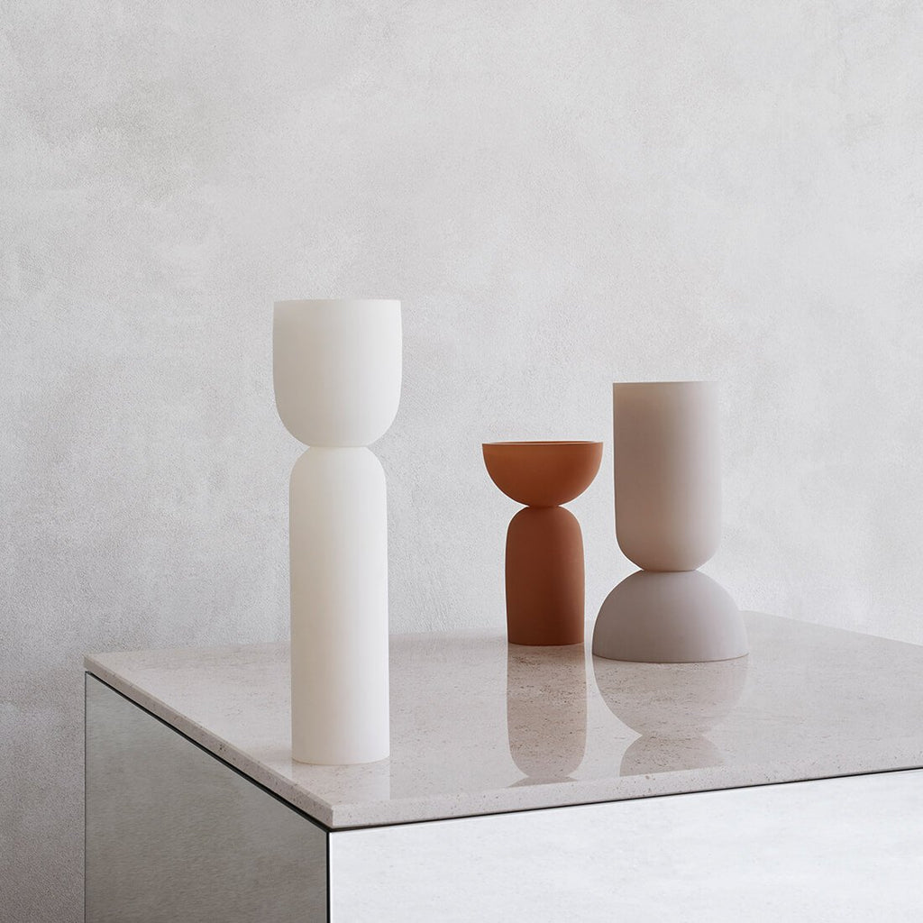 dual multifunctional vases in handblown colored glas