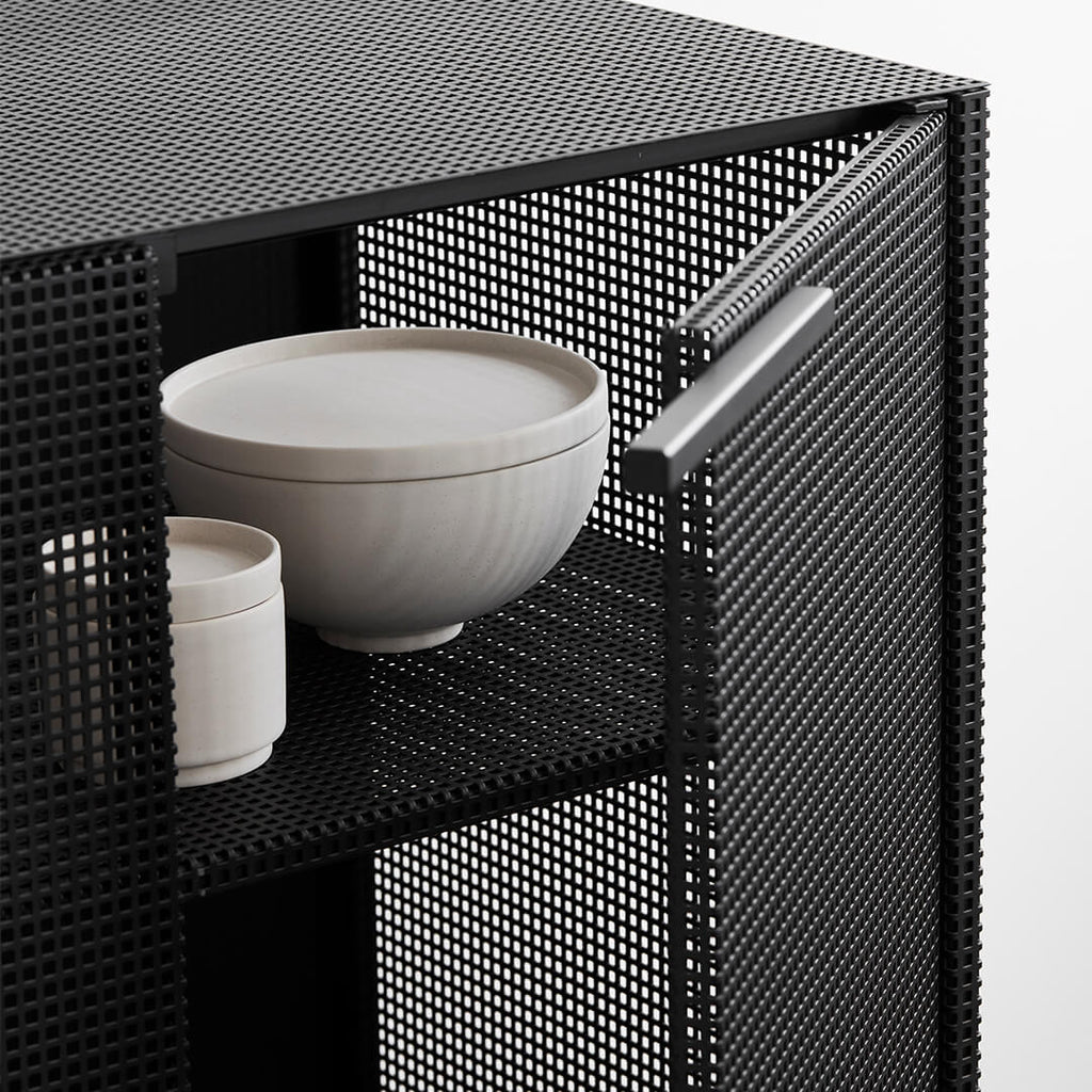 cabinet for china dishes black perforated steel kristina dam studio
