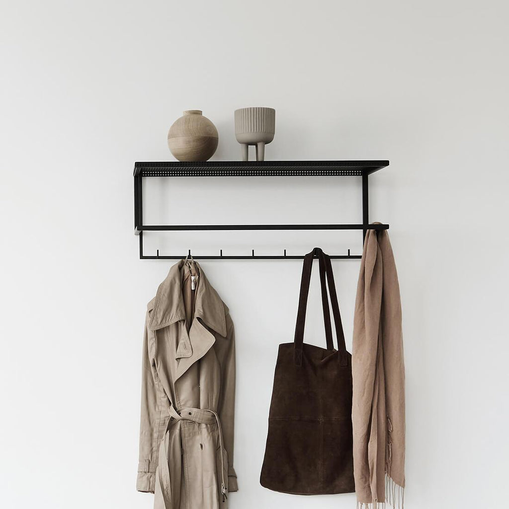 black coat hanger with shelf kristina dam studio