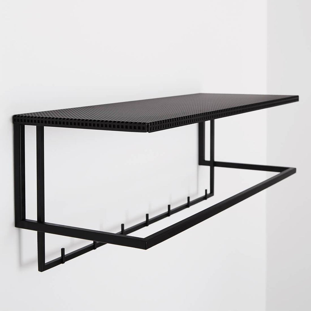 black steel coat hanger with shelf danish design