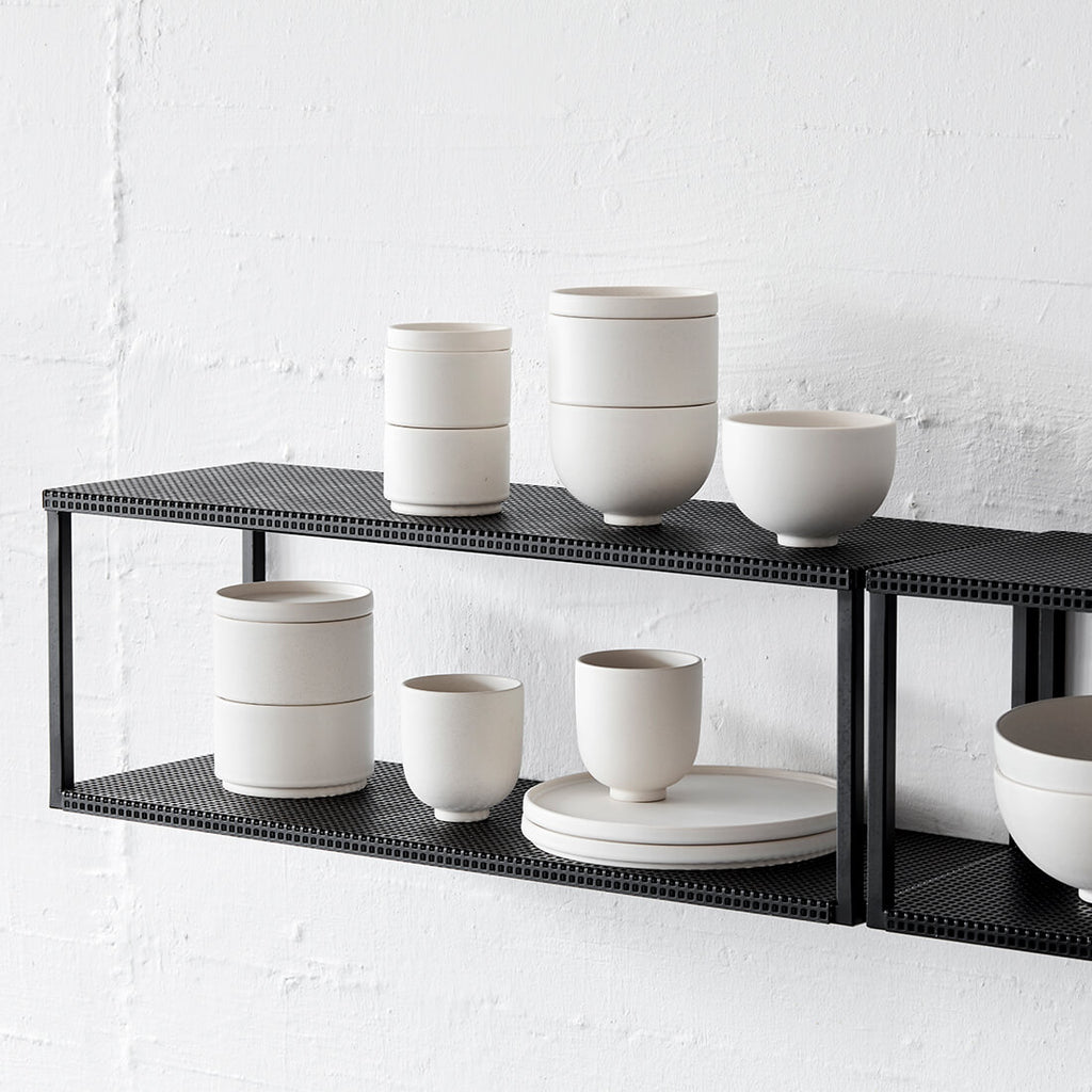 Black powder coated steel shelf kristina dam studio