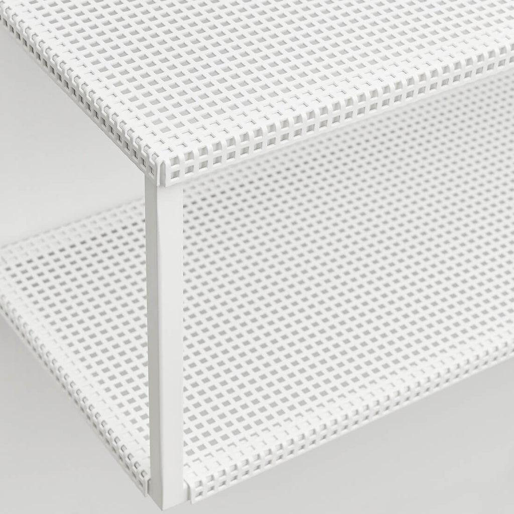 perforated grid white steel shelf kristina dam studio