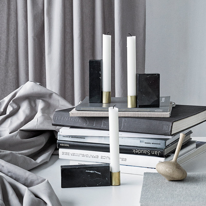 three candle holders marble brass design kristina dam studio