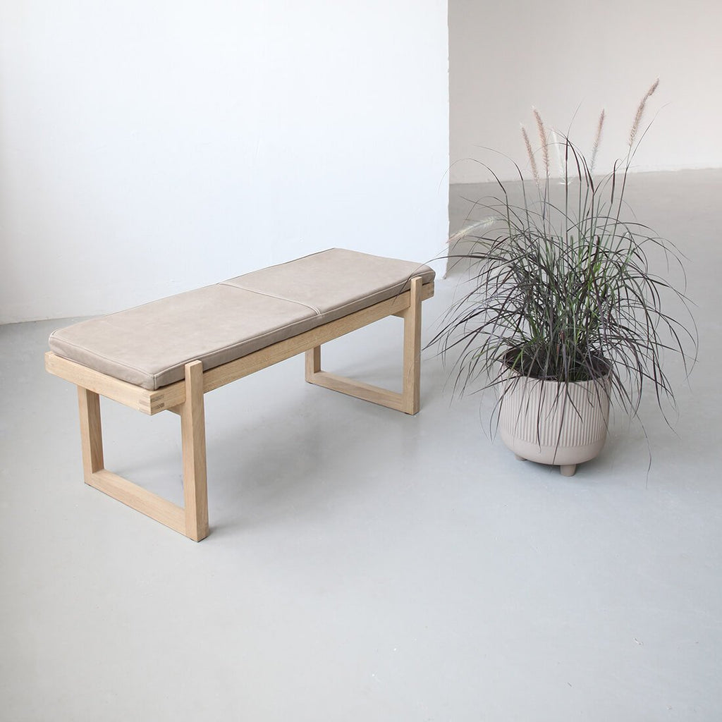kristina dam studio oak bench with leather cushion