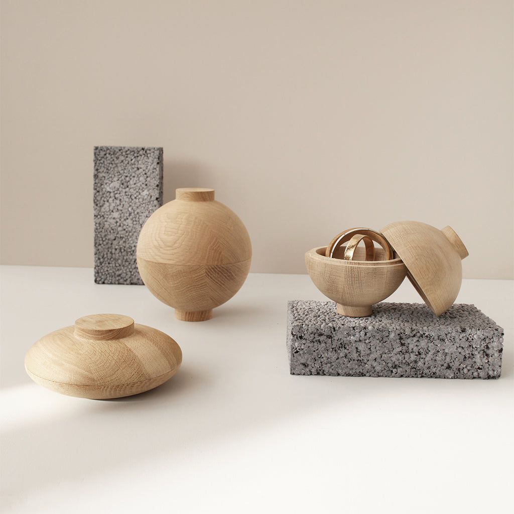 Wooden sphere use them separately as trays or vessel for displaing your favorite items
