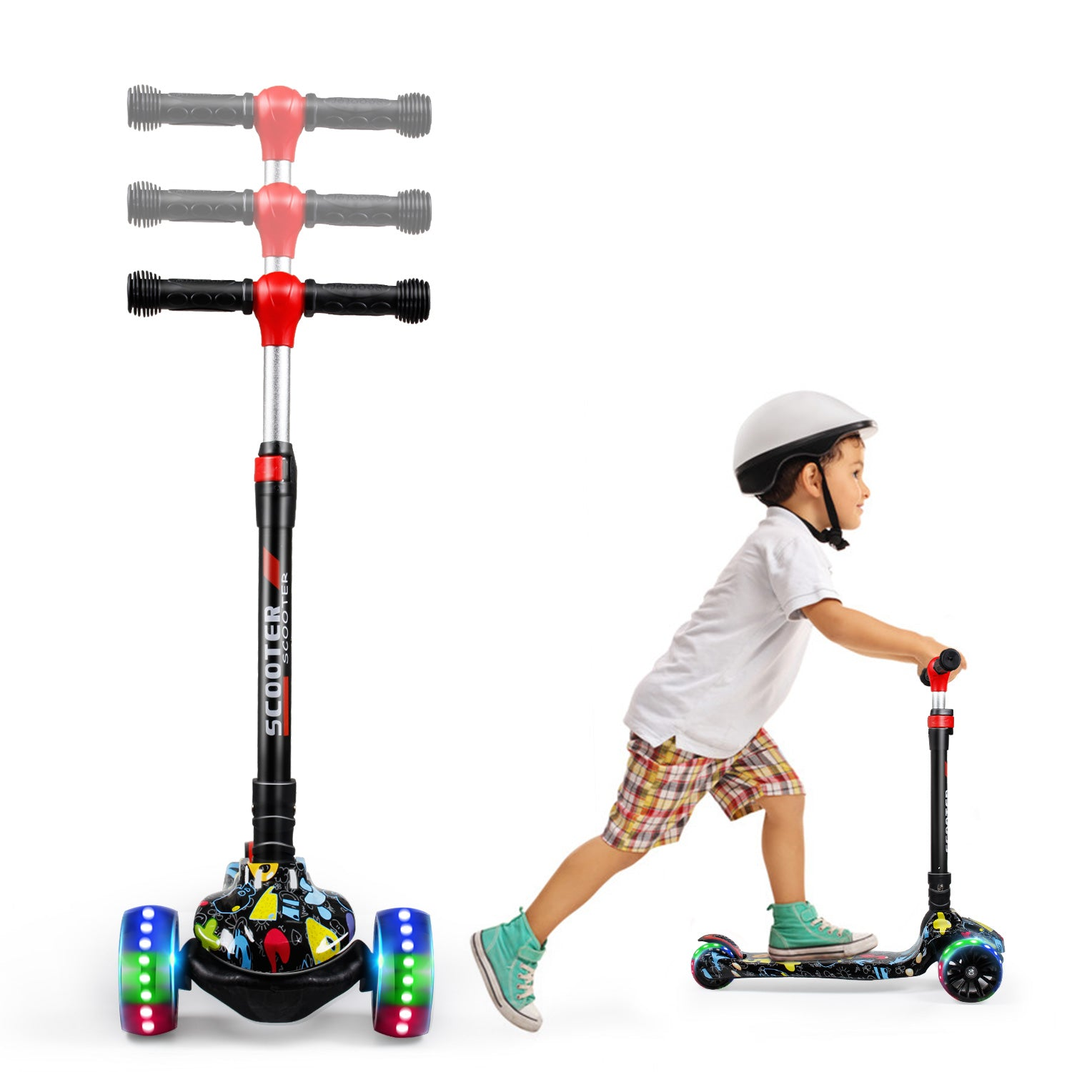 SISIGAD Kick Scooter for Kids (Graffiti Yellow/Black/White)