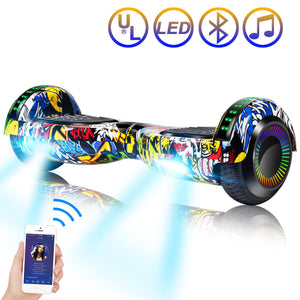 "SISIGAD 6.5"" Two-Wheels Self Balancing Hoverboard with Bluetooth and UL 2272 Certified Electric Scooter for Kids Adult  (Graffiti) - SISIGAD"