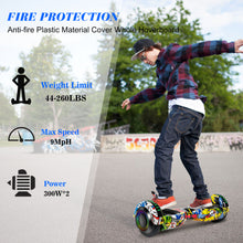 "Load image into Gallery viewer, SISIGAD 6.5"" Two-Wheels Self Balancing Hoverboard with Bluetooth and UL 2272 Certified Electric Scooter for Kids Adult  (Graffiti) - SISIGAD"