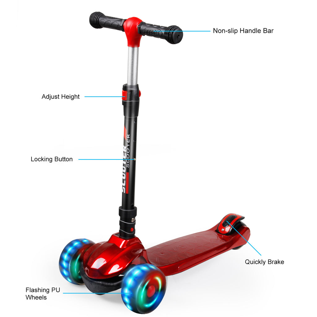 SISIGAD Kick Scooter for Kids(Bright Red/Blue/Black) - SISIGAD