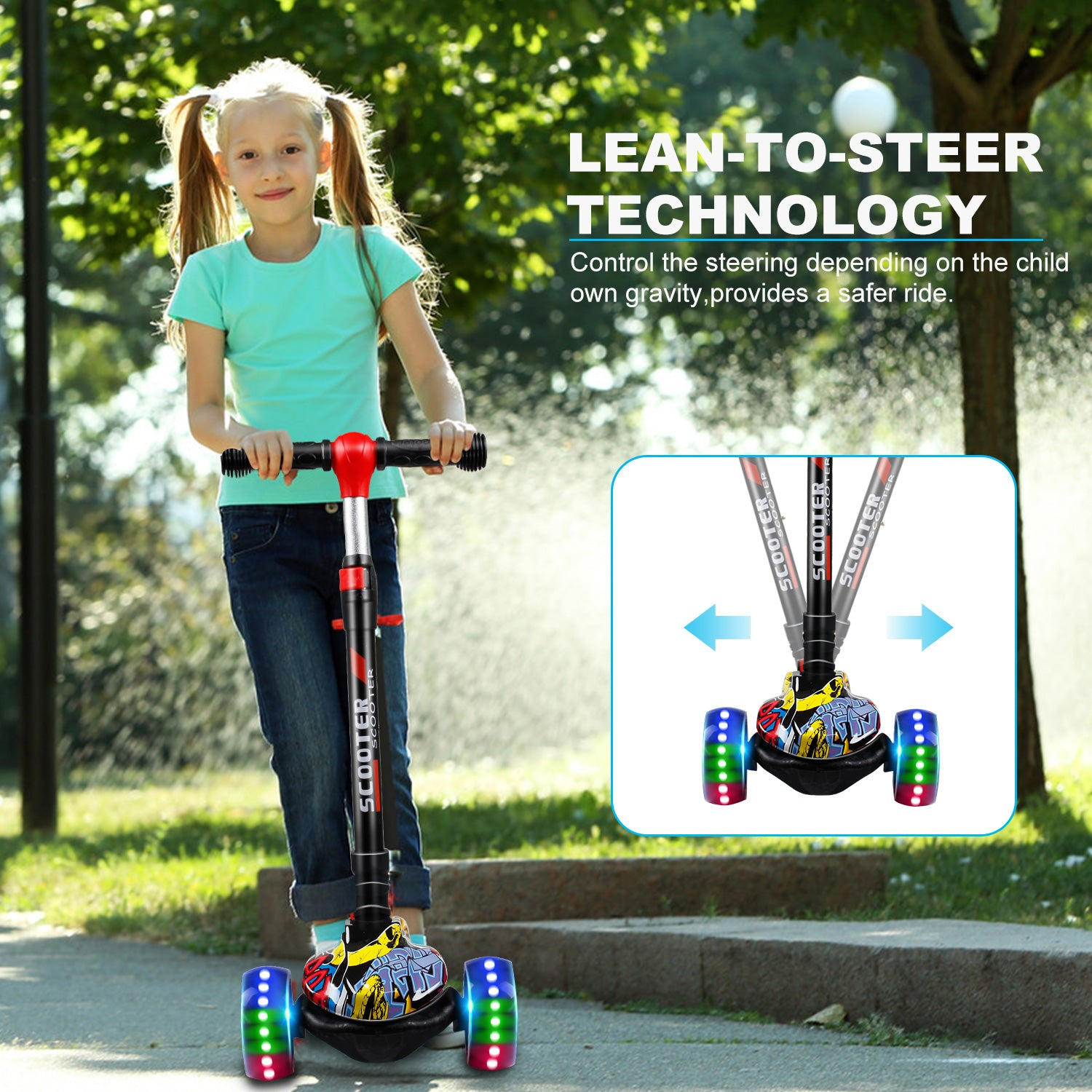SISIGAD Kick Scooter for Kids, 3 Wheel Kids Scooter with Led Flashing Wheels, Adjustable Height Toddler Scooter for Kids Ages 3-8 (Graffiti Yellow) - SISIGAD
