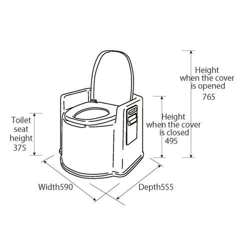 Specifications for PT02 portable toilet commode