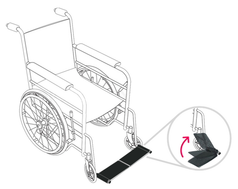 How to flip up wheelchair footrest