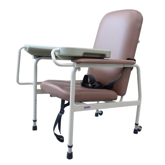 Height-Adjustable Stationary Geriatric Chair with Tray Default