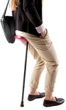 Walking Aid Flipstick Folding Adjustable Seat Cane (Neon Pink)