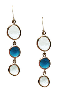 Dangle earrings, white and blue colours.
