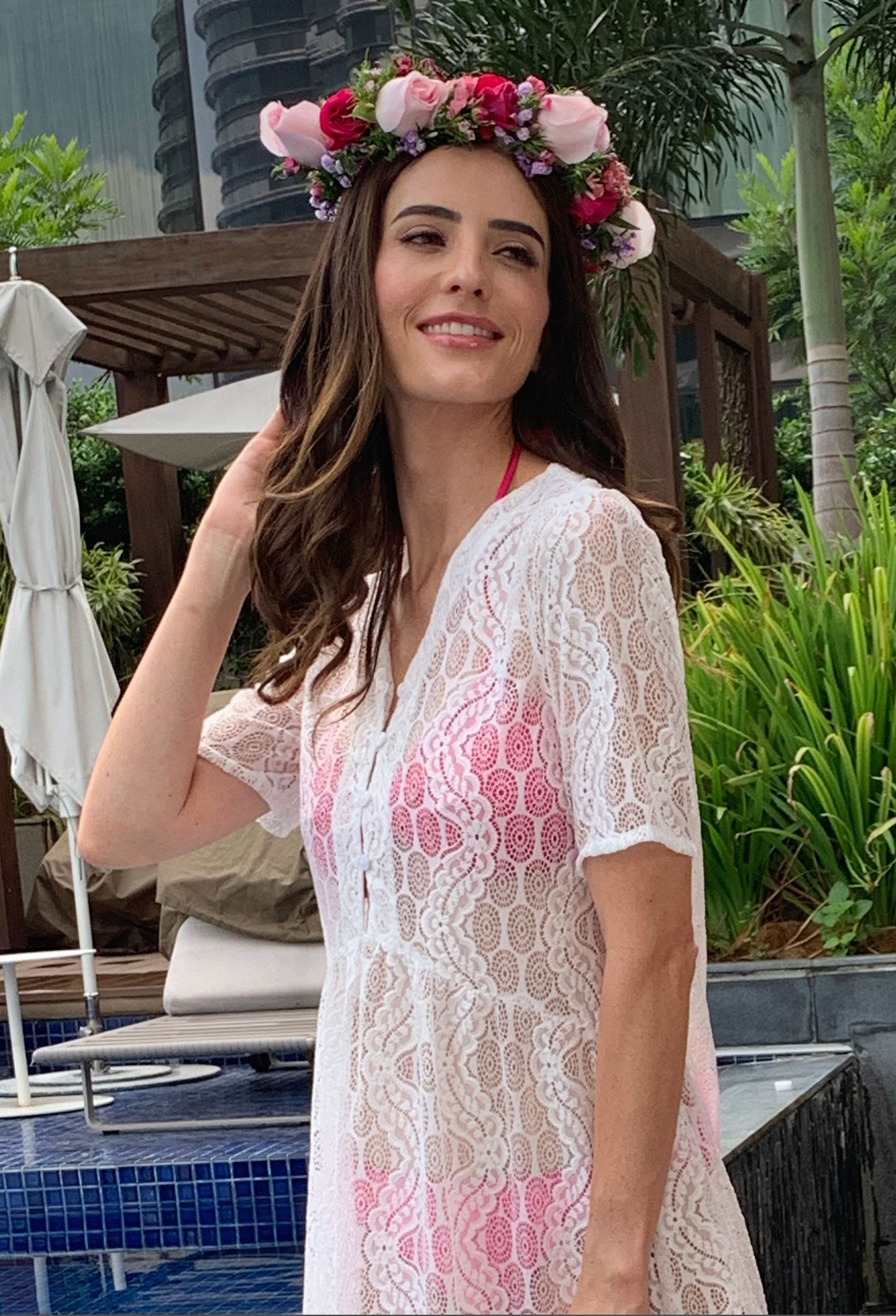 Acqua Bonita white beach cover up dress in lace. Resort wear fashion.