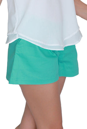 Turquoise summer shorts in cotton. From the Acqua Bonita resort wear collection. Designed and made with love in Malaysia.