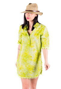 Summer shirt dress in hand printed batik, 100% cotton, yellow and green shades. With pompom trims