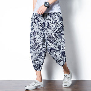 Ethnic Boho Floral Men Wide Legs Pants