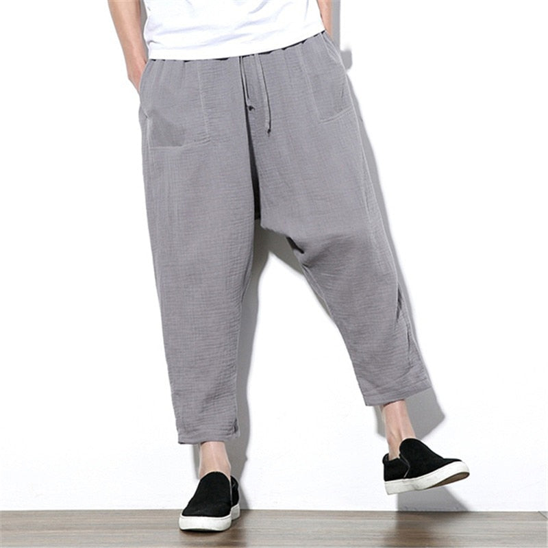Summer Cross-pants Men Wide Legs Pants