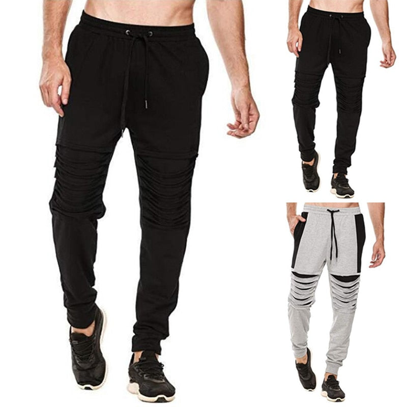 Men Pants Hiphop Harem Sweatpants Hole