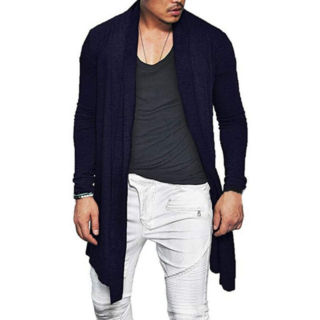 Fashion Mens Cardigan Waterfall Long Sleeve