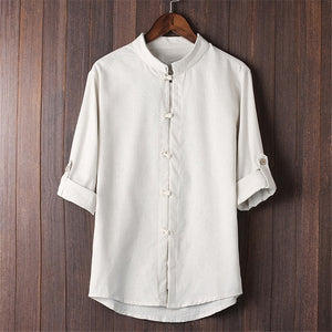 2019 Chinese Shirt Men Linen Cotton