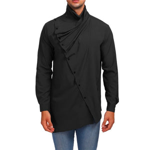 Men Shirt Long Sleeve Turtleneck Button Up Shirt