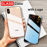 Stylish tempered glass protective phone case for iPhone X 10 7 8 Plus 6s