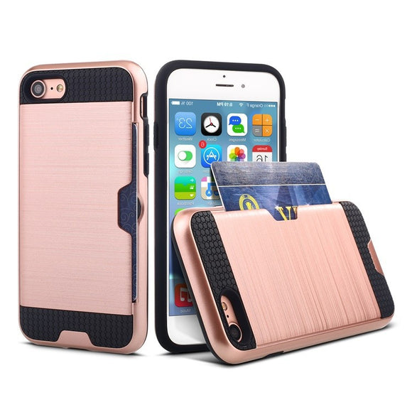 Shockproof PC + TPU case with card slot for iphone 6 6s 6plus 7 8 plus