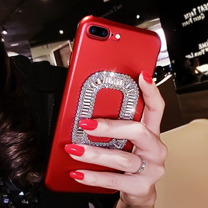 Women's Deluxe Glitter Silicone Red Case for iPhone X iPhone 10 8 7 6s 6 Plus 7P