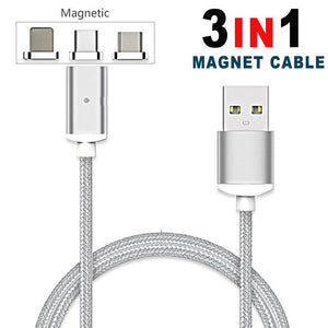 Nylon 3-in-1 Magnetic Mini Type-CUSB Magnetic Cable for iPhone Samsung