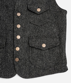 Le gilet «Raoul» tweed gris et canvas kaki clair