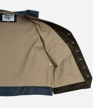 Le veston «Auguste» velours olive et denim