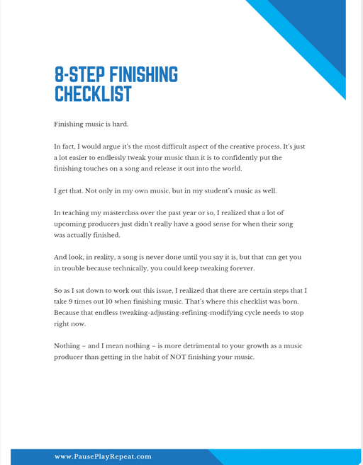 8-Step Song Finishing Checklist
