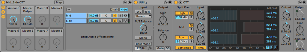 Mid/Side OTT Audio Effect Rack for Ableton - PausePlayRepeat