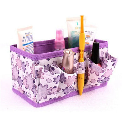 2017 Beaty Flower Print Foldable Makeup Cosmetic Storage Box Bag Stationary Container For Women Girls High quanlity Wholesale