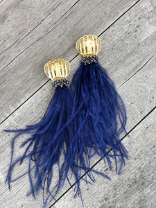 Feather Earring- Blue