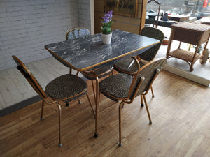Vintage Formica Kitchen Table & 4 Chairs Marble Effect 1950's
