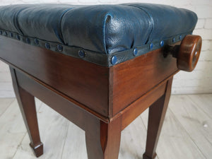 Antique Piano Stool Blue Leather Rise & Fall Seat