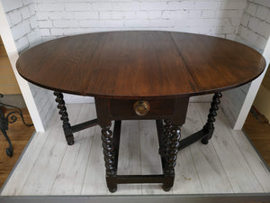 Vintage Jacobean Style Oak Gate Leg Table Barley Twist Legs