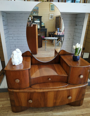 Art Deco Bedroom Dressing Table Vintage Oval Mirror
