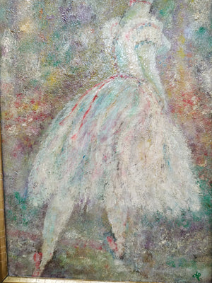 20th Century British School Study of a Ballerina Oil Painting on Board