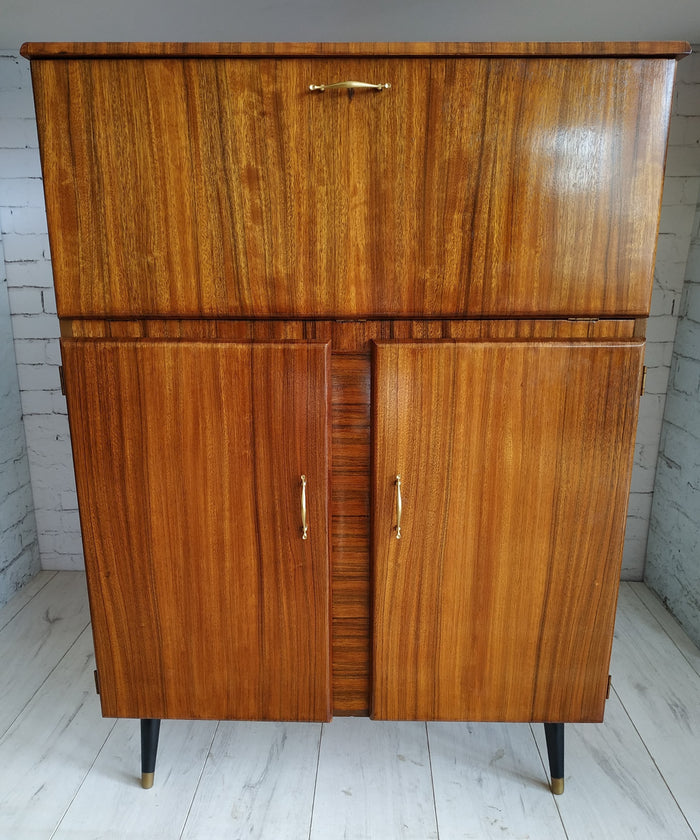 Beautility Mid Century Vintage Mirrored Cocktail Drinks Cabinet