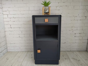 Vintage Bedside Cabinet Chest of Drawers Upcycled Blue Fusion Grey